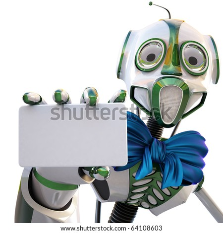 robot with a blue bow around his neck handing a blank business card over white background