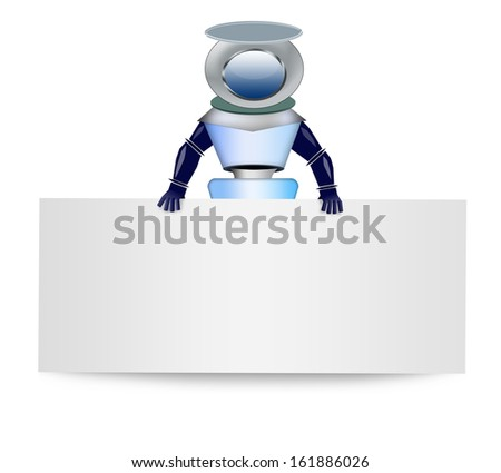 Robot with blank banner - stock photo