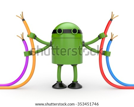 Robot with cables - stock photo