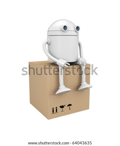Robot with cardboard box. Image contain clipping path - stock photo