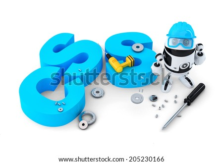 Robot with CSS sign. Technology concept. Isolated on white background. Contains clipping path - stock photo