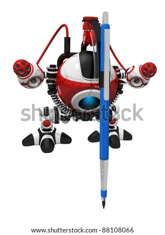 Robot with drafting pencil attached to him, creating something in your design. - stock photo