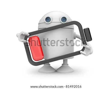 Robot with empty battery - stock photo