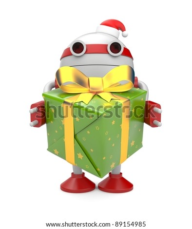 Robot with gift box. Image contain clipping path - stock photo