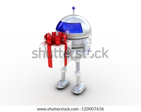 Robot with gifts, 3D images - stock photo