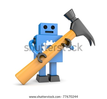 Robot with hammer - stock photo
