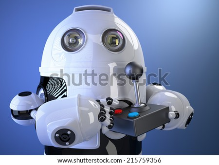 Robot with joystick. Contains clipping path - stock photo