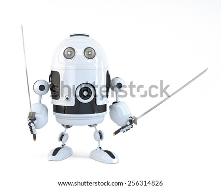 Robot with Katana. Technology concept. Isolated over white. Contains clipping path - stock photo