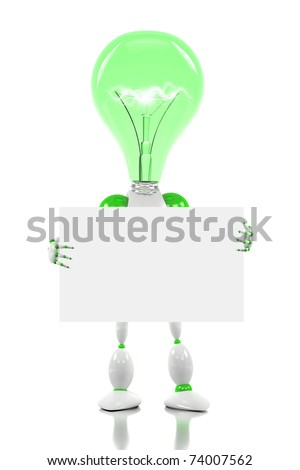 robot with light bulb for its head, holding a blank card - stock photo