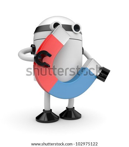 Robot with magnet - stock photo