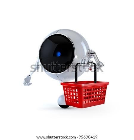 Robot with Market Basket - stock photo