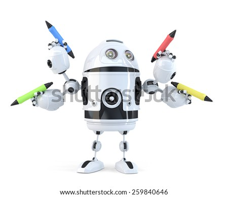 Robot with pencils. Multitasking concept. Isolated. Contains clipping path. 3d illustration - stock photo
