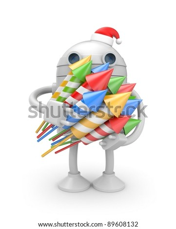 Robot with rockets - stock photo