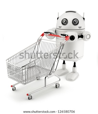 Robot with shopping cart. Isolated on white background - stock photo
