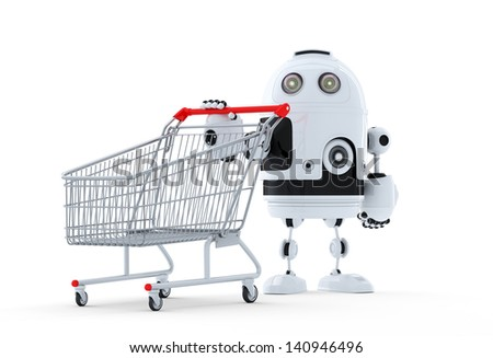 Robot with shopping cart. Isolated. Technology concept - stock photo