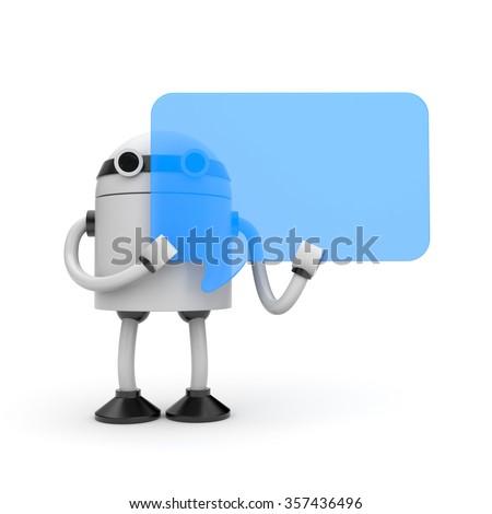 Robot with speech bubble - stock photo