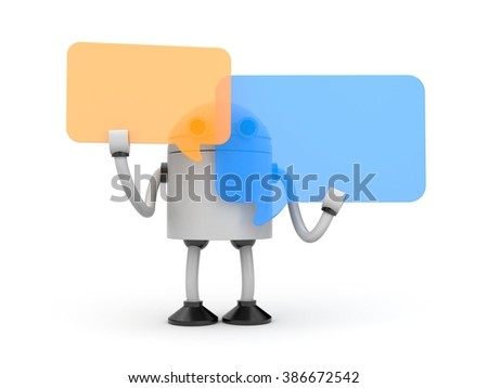 Robot with speech bubbles - stock photo