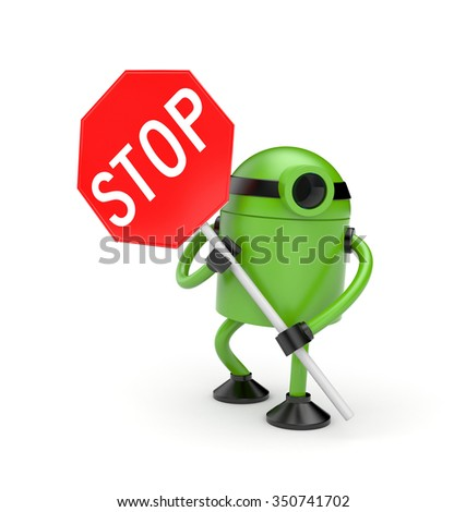 Robot with STOP sign - stock photo