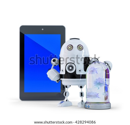 Robot with tablet computer. Computer security concept. Isolated. Contains clipping path of entire scene ant tablet screen. 3D illustration. - stock photo