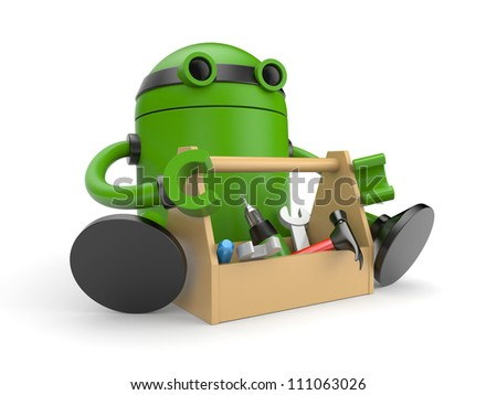 Robot with toolbox - stock photo