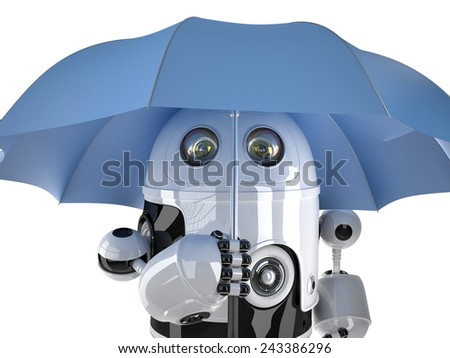 Robot with umbrella. Technology concept. Contains clipping path - stock photo