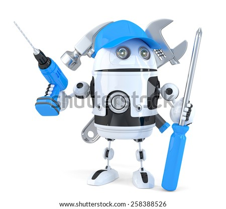 Robot with various tools. Technology concept. Isolated. Contains clipping path - stock photo