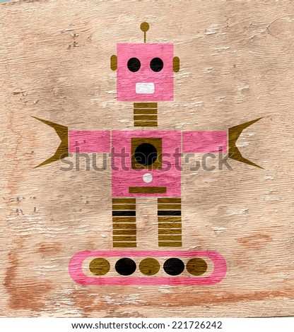 robot with wood texture grain - stock photo
