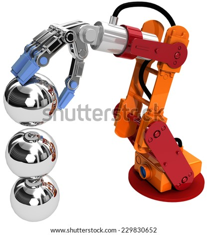 Robotic arm building growth in technology business as ball bearings stack - stock photo