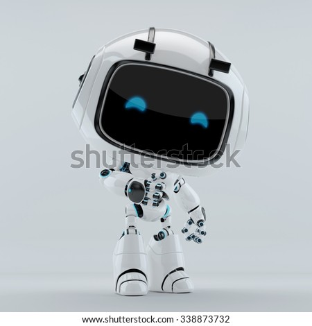 Robotic character with digital blue eyes - stock photo