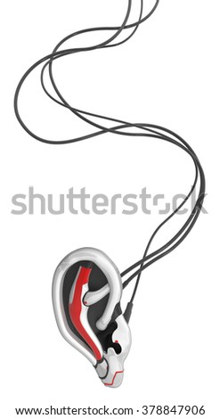 Robotic ear 3d model, connected with wires, isolated - stock photo