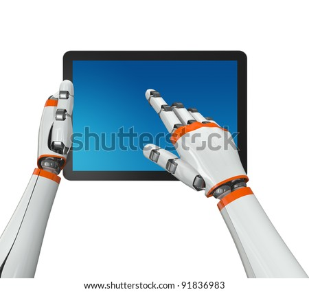 Robotic hand holding a tablet PC with blank screen. Contains vector paths for screen and hands. - stock photo