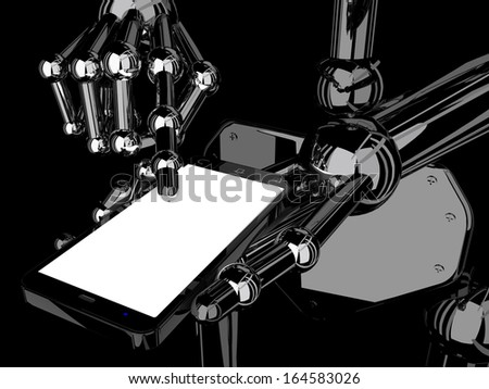 robotic hand holding and Touch on Black Smartphone with blank screen on black background  - stock photo