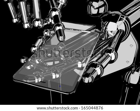 robotic hand holding blank transparent futuristic smart phone in black baclground - stock photo