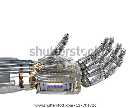 Robotic hand holding imaginary object. - stock photo