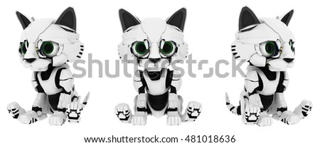 Robotic kitten sitting poses 3d illustration, horizontal, isolated