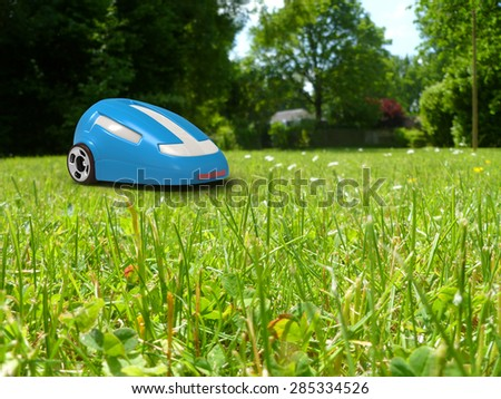 Robotic lawnmower - stock photo