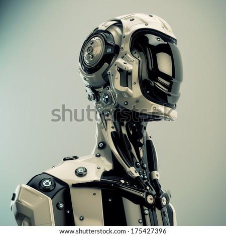 Robotic man / Unusual cyborg with helmet in profile - stock photo