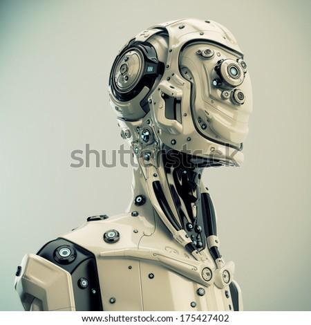Robotic man / Unusual cyborg with optics in profile - stock photo