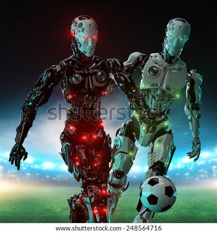 Robotic Soccer Players - stock photo