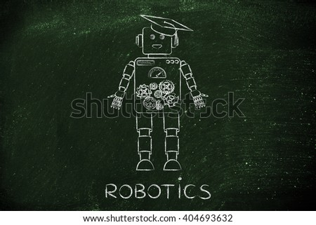 robotics: funny robot with graduation hat, concept of artificial intelligence - stock photo