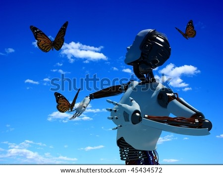 Robots and butterflies against the sky - stock photo