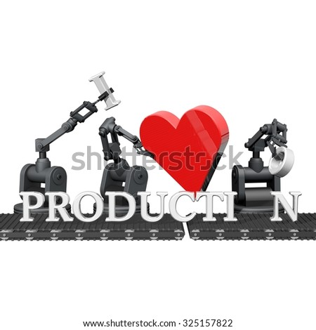 "Robots that make the phrase ""I love production"" - stock photo"