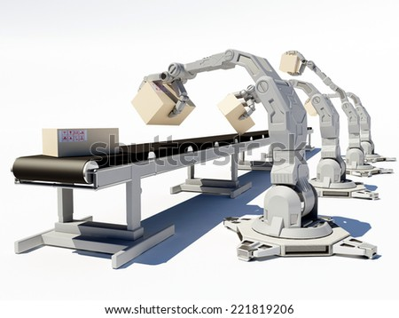 Robots work on assembly line. - stock photo