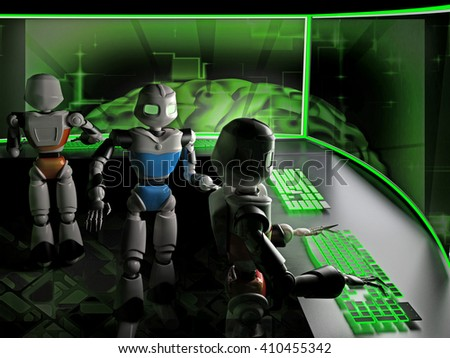 Robots working on computers in the office. Bright green keyboard strokes and modern monitors. - stock photo
