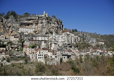 Rocamadour village perched on a cliff, France