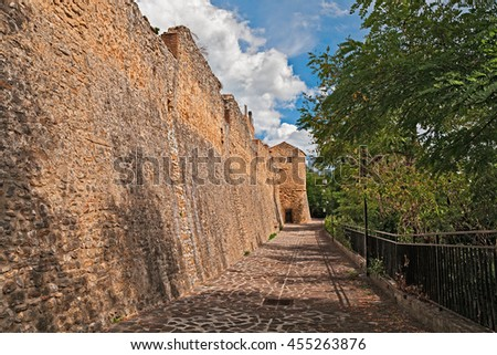 Rocca San Giovanni, Chieti, Abruzzo, Italy: the medieval city walls in the ancient village
