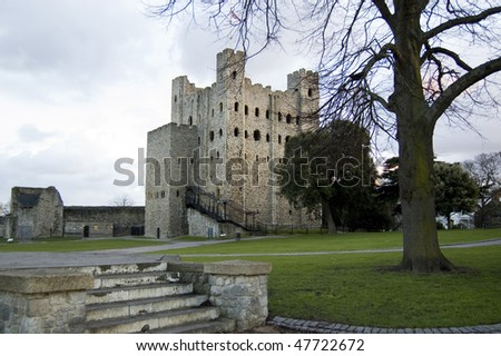 Rochester Castle at dusk, Kent, UK - stock photo