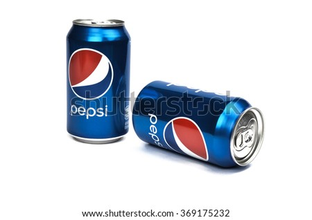 ROCHESTER,NEW YORK,USA - JANUARY 29, 2014. Pepsi Can isolated on white background. Pepsi is a carbonated soft drink that is produced and manufactured by Pepsi Co