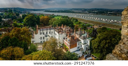 Rochester - view from the castle - stock photo