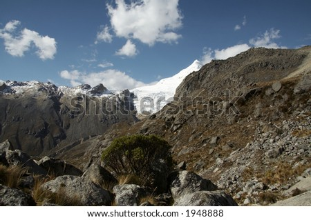 Rock and high snow mountain in Cordillera Blanca